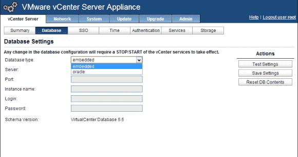 Das vCenter Server Appliance unterstützt derzeit neben der eingebetteten Datenbank nur Oracle.