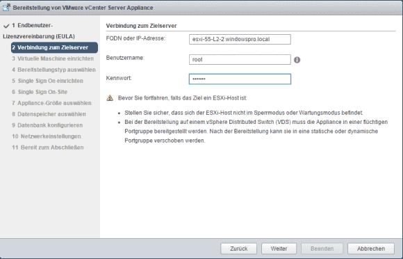 Der Wizard startet mit der Abfrage von Zugangsdaten zu ESXi oder einem vCenter-Server.