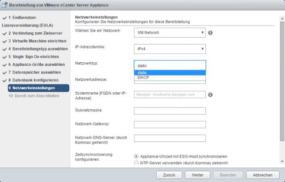 Wahlweise ist eine statische oder dynamische IP-Konfiguration möglich, VMware empfiehlt die statische.
