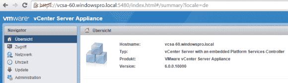 Das VAMI zur Konfiguration des vCSA lässt sich über Port 5480 aufrufen.
