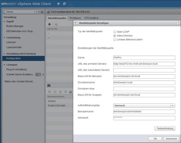 Nach dem Domain Join des vCSA muss man das AD als Identitätsquelle einbinden, so dass man auf dessen User zugreifen kann.