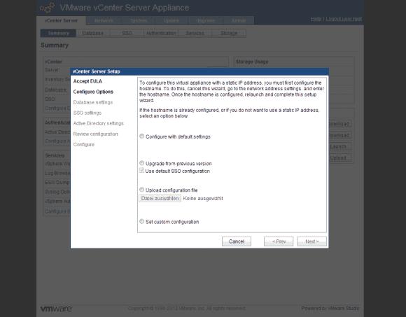 Wenn man die eingebettete Datenbank nutzt, dann kann man vCSA mit den Standardeinstellungen konfigurieren.