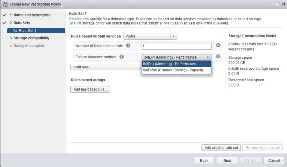 Neben RAID-1 unterstützt vSAN 6.2 auch RAID-5 und RAID-6 (Erasure Coding)