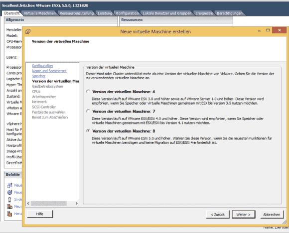 Der Wizard zum Anlegen neuer VMs ist im vSphere Client 5.5 bei Virtual Hardware 8 stehen geblieben.