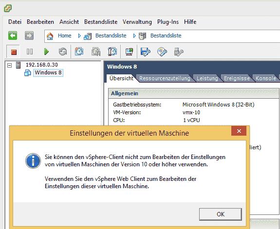 Der vSphere Client 5.5 kann eine VM zwar auf Virtual Hardware 10 aktualisieren, aber danach nicht mehr verwalten.