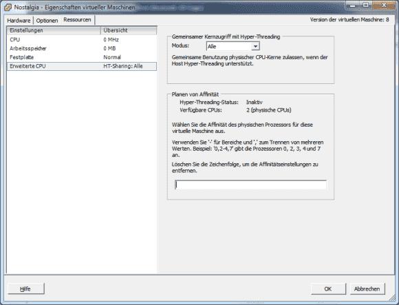 Über die CPU Affinity kann man eine VM im vSphere Client fest bestimmten logischen Prozessoren zuordnen.