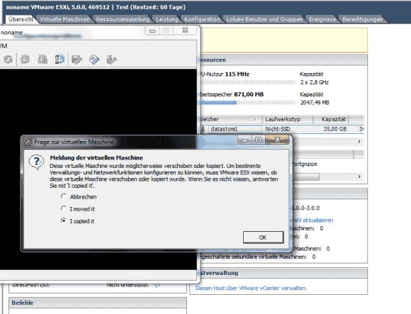 Beim ersten Start einer kopierten VM frägt der vSphere Client, ob die VM kopiert oder verschoben wurde.