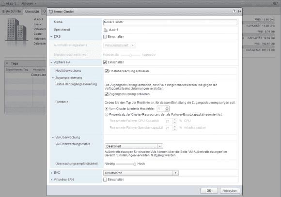 Zu den wichtigsten Cluster-bezogenen Features zählen HA für Failover und DRS für die Lastenverteilung.