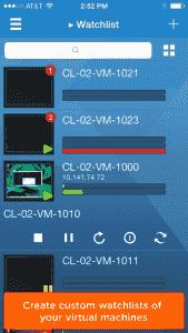 vSphere Mobile Watchlist enthält auch Thumbnails der VM-Konsolen.