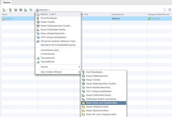 Legt man Ordner direkt unter einem Datacenter an, dann muss man sich entscheiden, welche Objekte er aufnehmen soll.