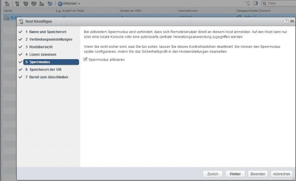 Der Sperrmodus verhindert die direkte Remote-Administration von ESXi-Hosts.