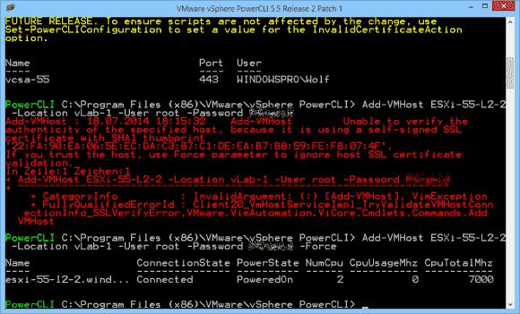 Fügt man Hosts mit PowerCLI zu vCenter hinzu, dann klappt dies bei einem ungültigen Zertifikat nur mit dem Schalter -Force.