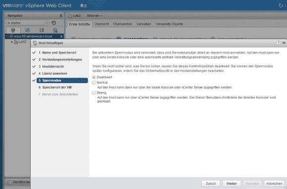 Beim Hinzufügen eines Host kann man gleich einen der beiden Sperrmodi aktivieren.