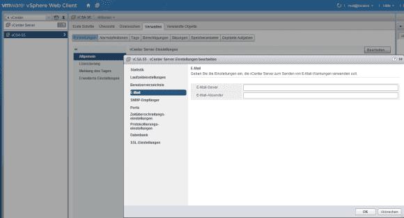 Wenn man sich über ein ablaufendes Passwort benachrichtigen lassen will, dann konfiguriert man den SMTP-Server im Web Client.