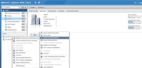 Resource Pools können CPUs und RAM eines Clusters oder eines einzelnen Hosts für bestimmte Anwendungen reservieren.