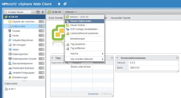 vCenter erlaubt das Einrichten mehrerer Datacenter, die ihrerseits Hosts, Cluster, Datastores und VMs enthalten.