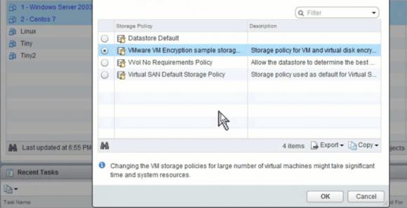 Auch die Verschlüsselung von VMs erfolgt über Storage Policies.