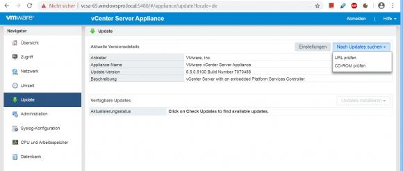 Bis dato musste man Updates für vCSA über das VAMI installieren.