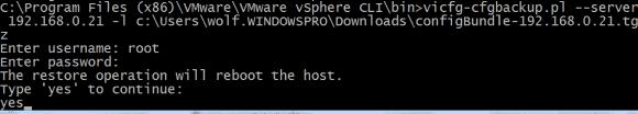 Die Wiederherstellung einer ESXi-Konfiguration ist nur im Maintenance Mode möglich und bewirkt einen Reboot des Hosts.
