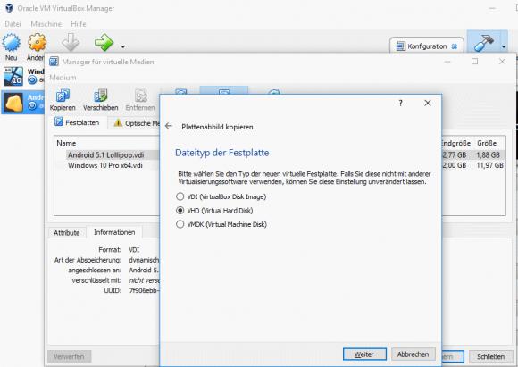 Export eines virtuellen Laufwerks aus VirtualBox im VHD-Format