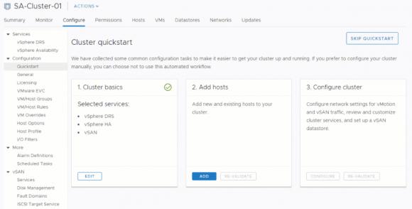 Cluster Quickstart ist ein neuer Wizard, der das Einrichten und Erweitern von ESXi-Clustern vereinfacht.