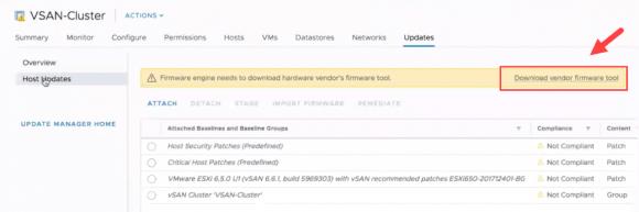 VMware Update Manager (VUM) kann nun auch die Server-Firmware aktualisieren.