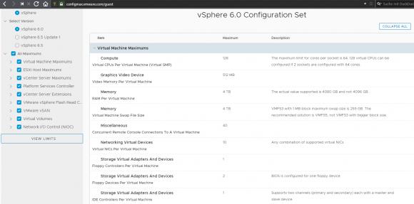 Maximalwerte für vSphere 6 im neuen Online-Tool