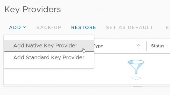 Hinzufügen eines Native Key Provider über den vSphere Client