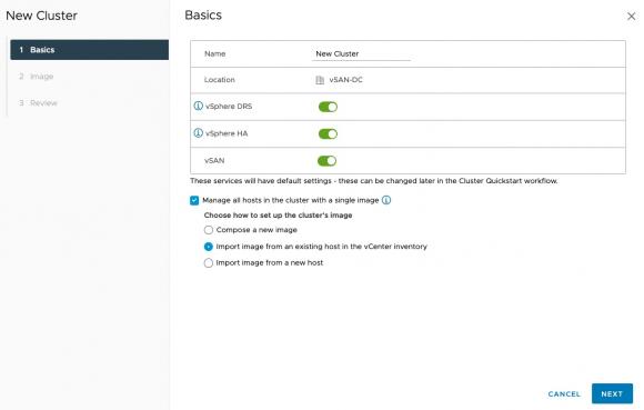 Import der Konfiguration eines Referenz-Hosts zum Aufbau eines vSphere-Clusters