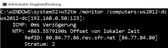 w32tm mit dem Parameter monitor zeigt die Abweichung der Systemzeiten an.
