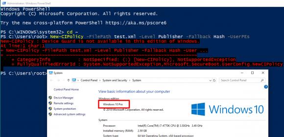 Entgegen Microsofts Angaben lässt sich Application Control unter Windows 10 Pro nicht nutzen.
