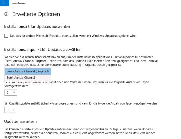 Über die GUI kann man nur zwischen zwei Channels für Feature-Updates wählen.