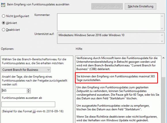 Unternehmen können sich nun bei WUfB 1 Jahr Zeit lassen, bis sie ein neues Release installieren.