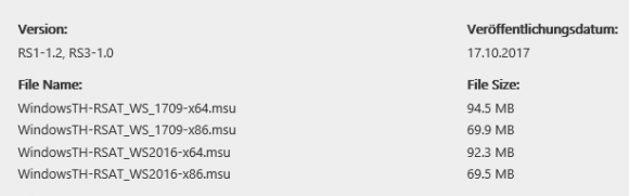 Versionen der RSAT für Windows 10 1709