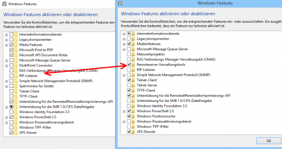 Die RSAT für Windows 10 1709 tauchen nicht in der Systemsteuerung auf.