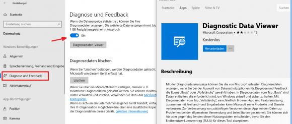Ein neuer Viewer zeigt die an Microsoft versendeten Diagnosedaten