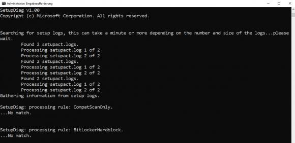 SetupDiag beim Analysieren der Log-Dateien