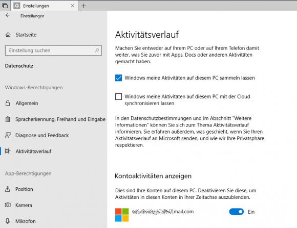 Interaktive Verwaltung des Aktivitätsverlaufs in der App Einstellungen