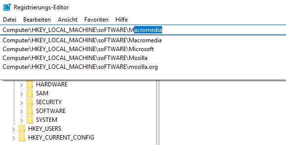 Der Registry-Editor enthält nun eine Adresszeile, die Autovervollständigung unterstützt.