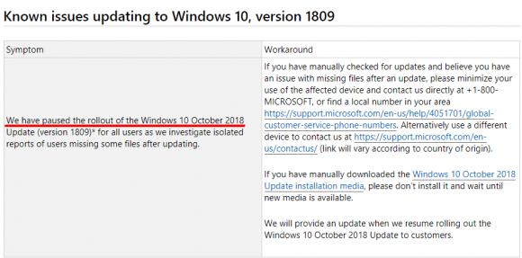 Microsoft musste nach die Auslieferung von Windows 10 1809 anhalten, nachdem einige User beim Upgrade Daten verloren haben.