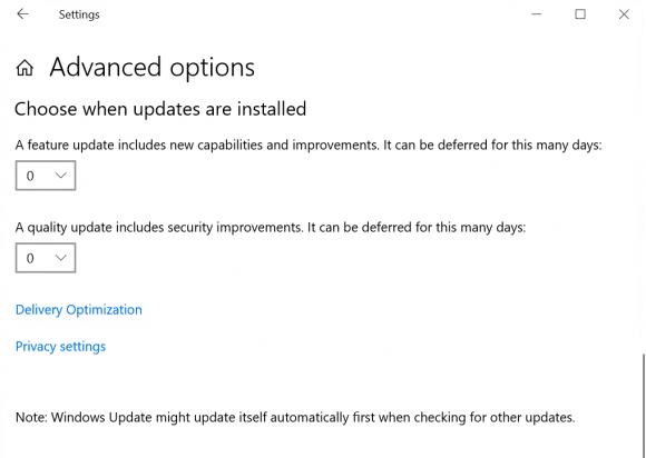 Beide Arten von Updates lassen sich in allen Editionen interaktiv um max. 35 Tage aufschieben.