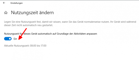 Windows 10 1903 kann die Nutzungszeit anhand der Gewohnheiten des Users selbständig anpassen.