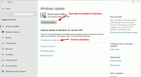 Benutzer können in Windows 10 1903 über die App Einstellungen normale Updates und Feature-Updates getrennt abrufen.
