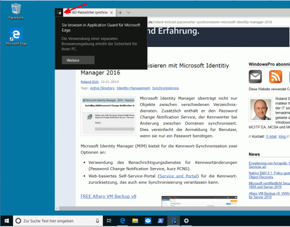 Im Unterschied zur Sandbox fügt Application Guard den Browser nahtlos in den Desktop ein