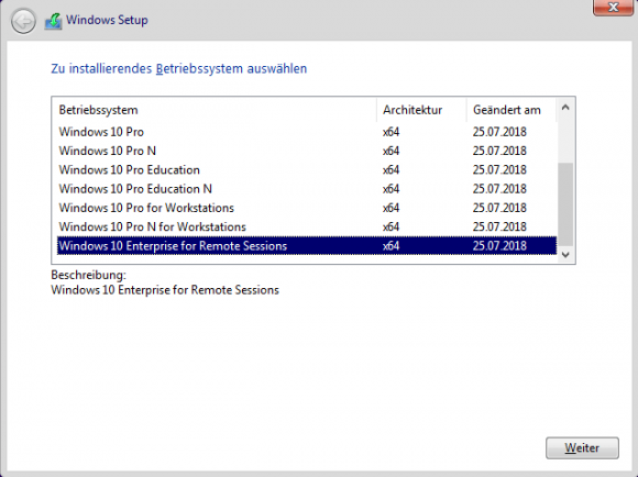 Das Setup von Windows 10 bietet nun die Edition Enter­prise for Remote Sessions als Option an.