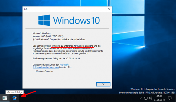 Windows 10 Enterprise for Remote Sessions enthält auch Edge