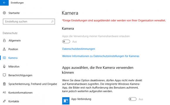 Nach Anwendung des GPO bleibt die Kamera für alle außer den zugelassenen Apps gesperrt.