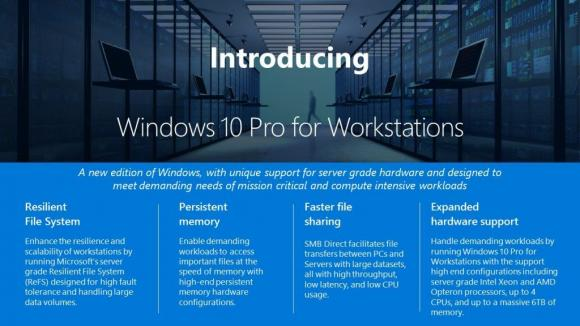 Die wichtigsten Funktionen von Windows 10 Pro for Workstations.