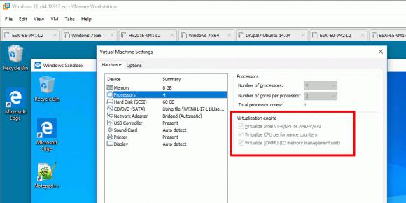 Wenn man die Sandbox in einer VM ausführen möchte, muss man diese für Nested Virtualization konfigurieren.