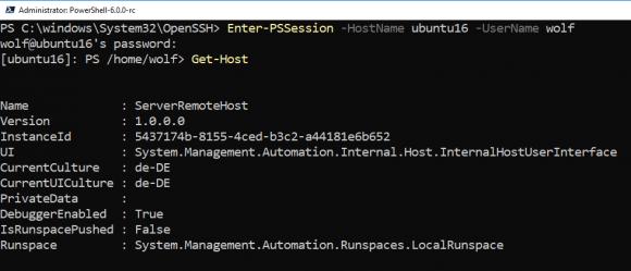 Starten einer Remote-PowerShell-Session auf Ubuntu von Windows 10 aus.